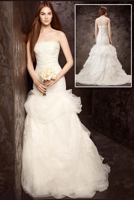 Сватбена рокля без презрамки с волани от тюл и органза на Вера Уанг - колекция пролет 2013 White by Vera Wang