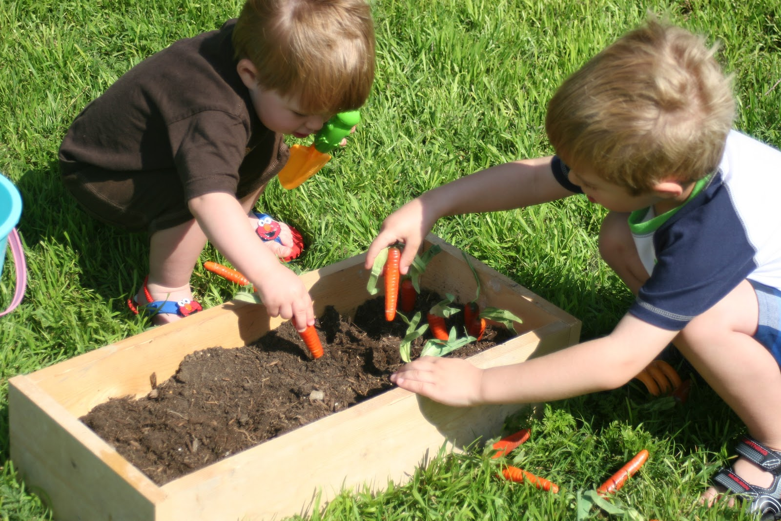 Nice Vegetable Garden For Kids Part - 11: We Dumped Some Dirt In The Box, And Pulled Our Plastic Shovels And Gardening  Tools Out. We Dug Holes...then Planted..then Picked...then Dug More Holes.
