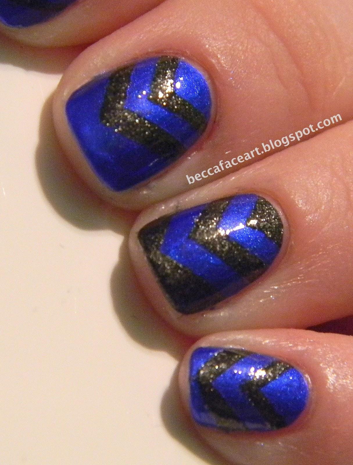 Nail art blue grey : Becca face nail art blue and grey chevron nails