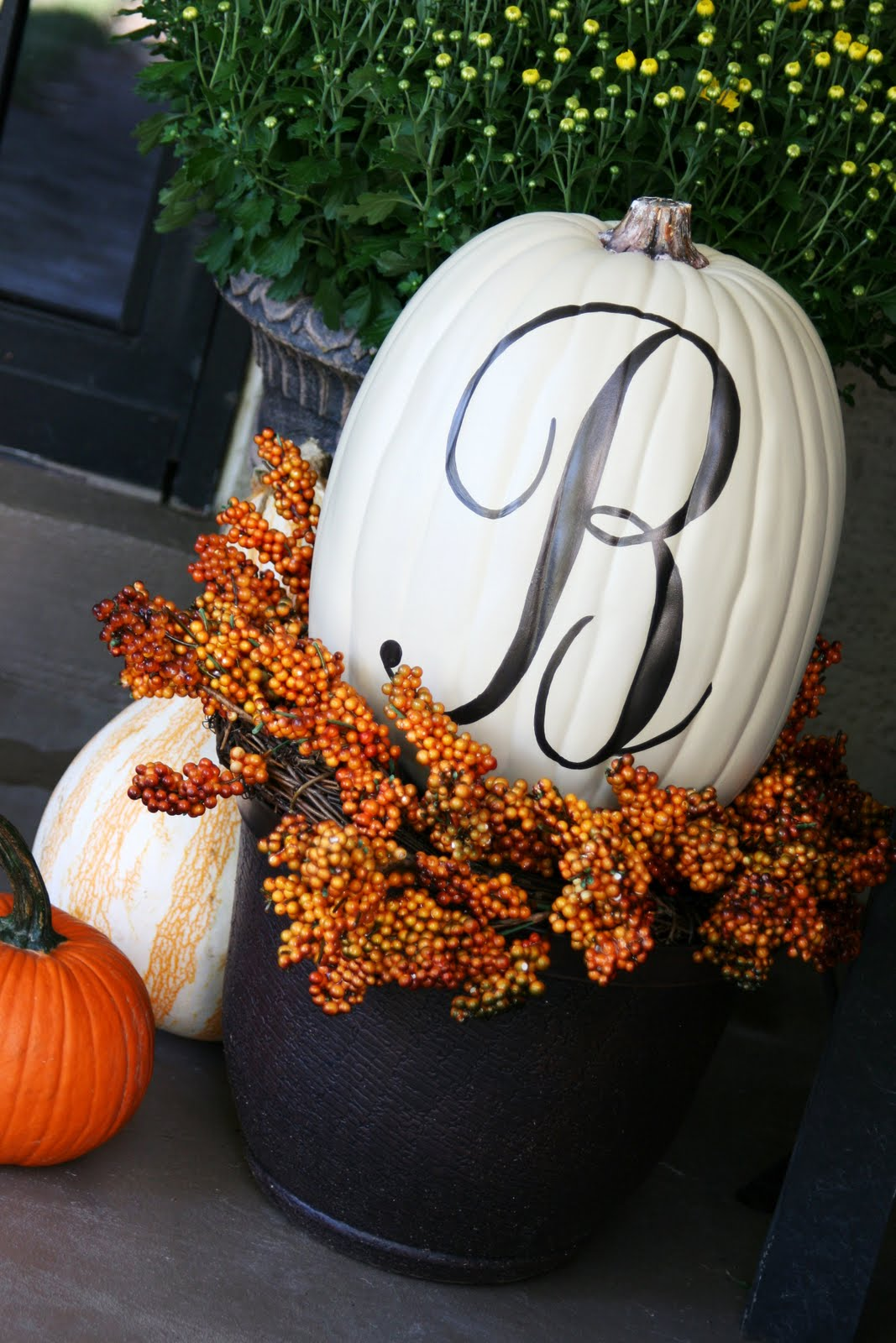 Dishfunctional designs decorating with unusual pumpkins Flower painted pumpkins