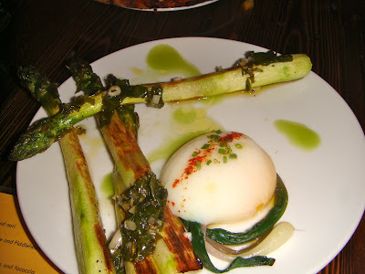 Asparagus with poached egg at Coppa, Boston, Mass.