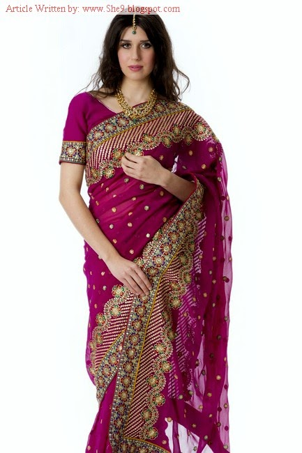 Embroidered Saree Designs for Evening Party Wear