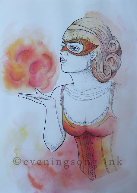 the fire breather, woman, circus, fire, breather, red, orange, eveningsong ink