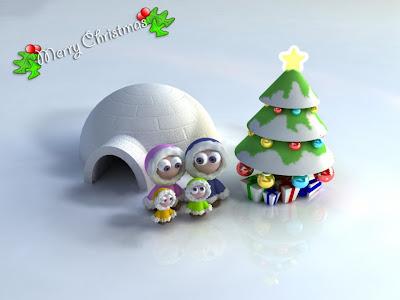 Hermosa ilustración de familia esquimal celebrando Navidad