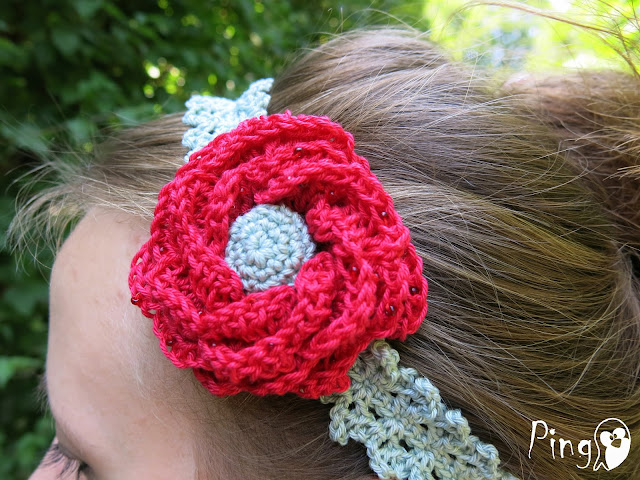 Crochet Rose Headband by Pingo - The Pink Penguin
