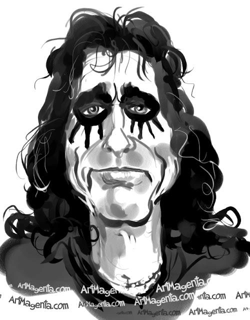 Alice Cooper caricature cartoon. Portrait drawing by caricaturist Artmagenta