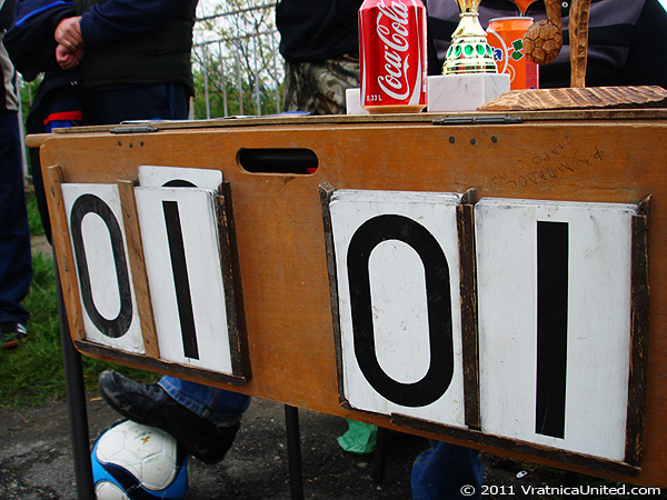 Scoreboard: Tied match at VRATNICA 2011 tournament (tied score / tied scoreboard)