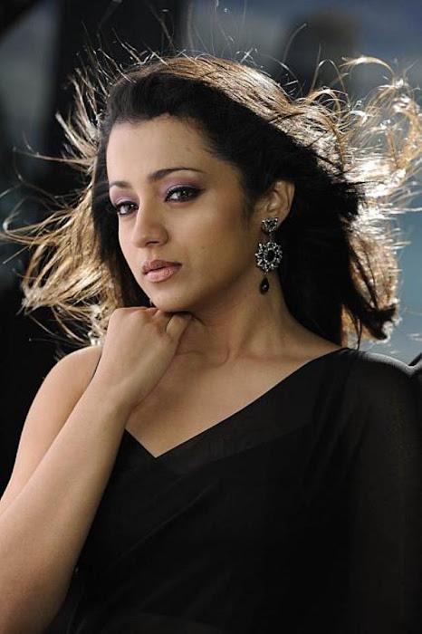 trisha in guard movie black saree , photo gallery