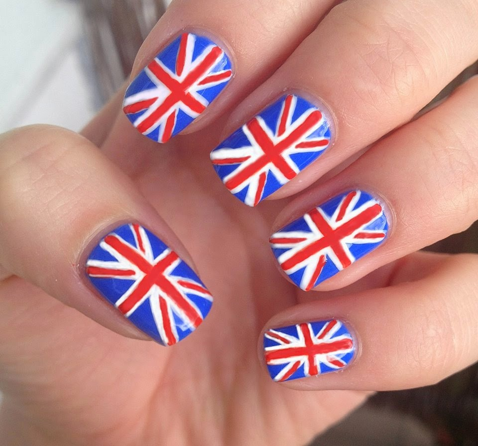 nails british flag polish white red blue mani