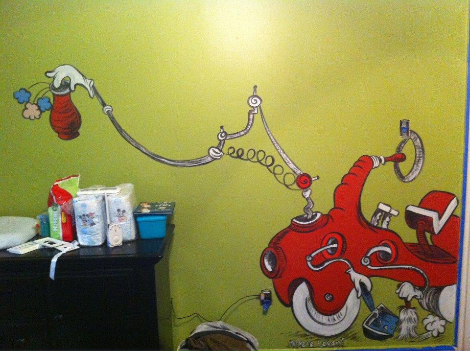 Michele levani artist dr seuss cat in the hat nursery for Dr seuss mural nursery