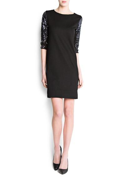 kolları taşlı siyah elbise