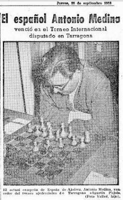 Recorte de Mundo Deportivo sobre el Torneo Internacional de Ajedrez Tarragona 1952