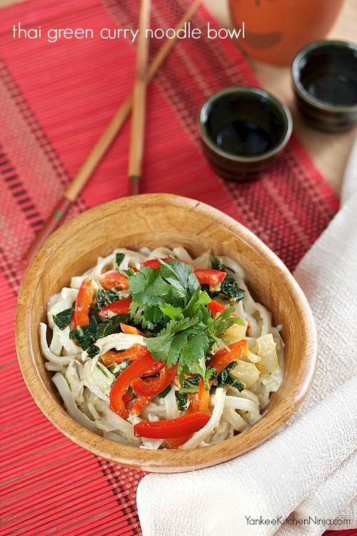 Light and easy thai green curry noodle bowl