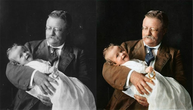 Roosevelt with Grandchild, Originally black & white and colorized.