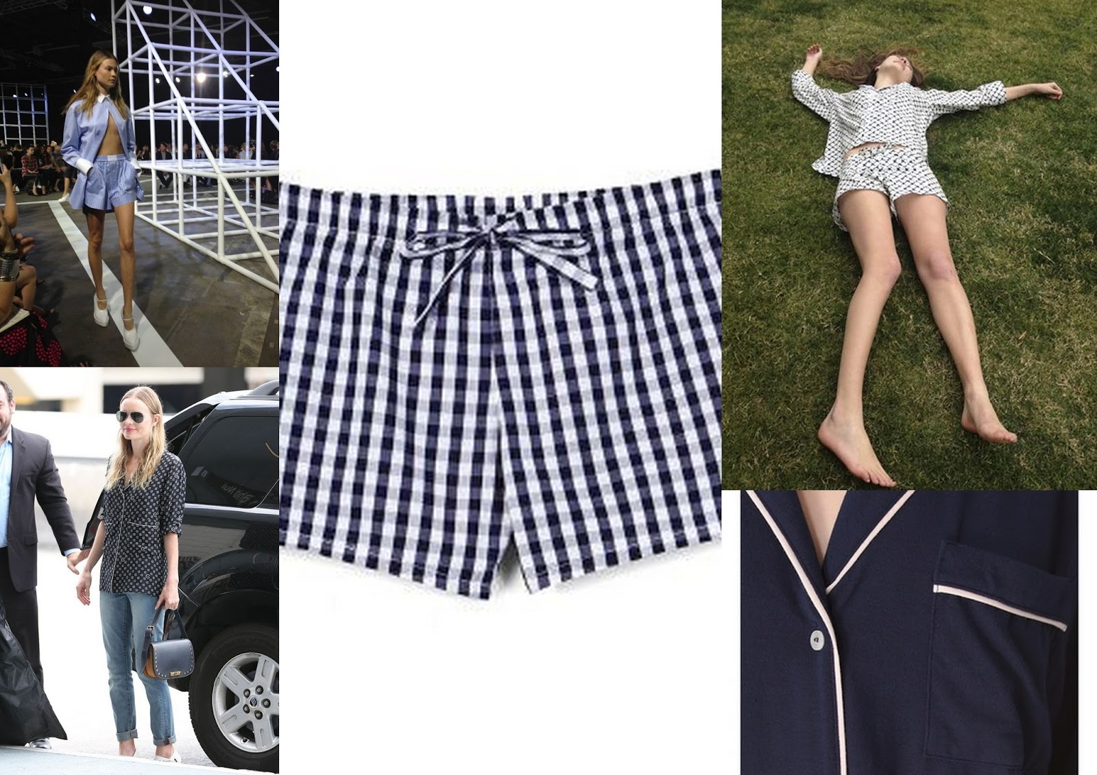 Alexander wang Pajama set, Alexabder wang spring 2014, Kate Bosworth Pajama top, Sleepyjones pajama, Vogue Gingham shorts