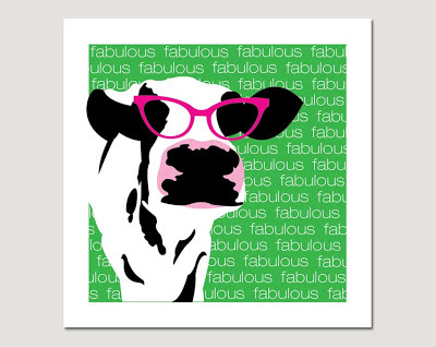 cow with pink glasses fabulous on grey