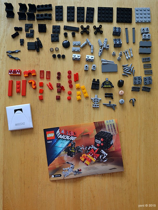 lego: batman and super angry kitty attack - knolling