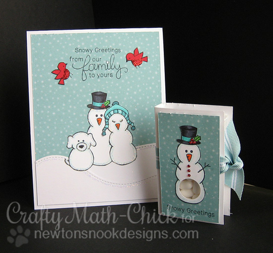 Snowman Family card & tic tac holder by Crafty Math-Chick for Newton's Nook Designs - Flaky Family Snowman Stamp Set