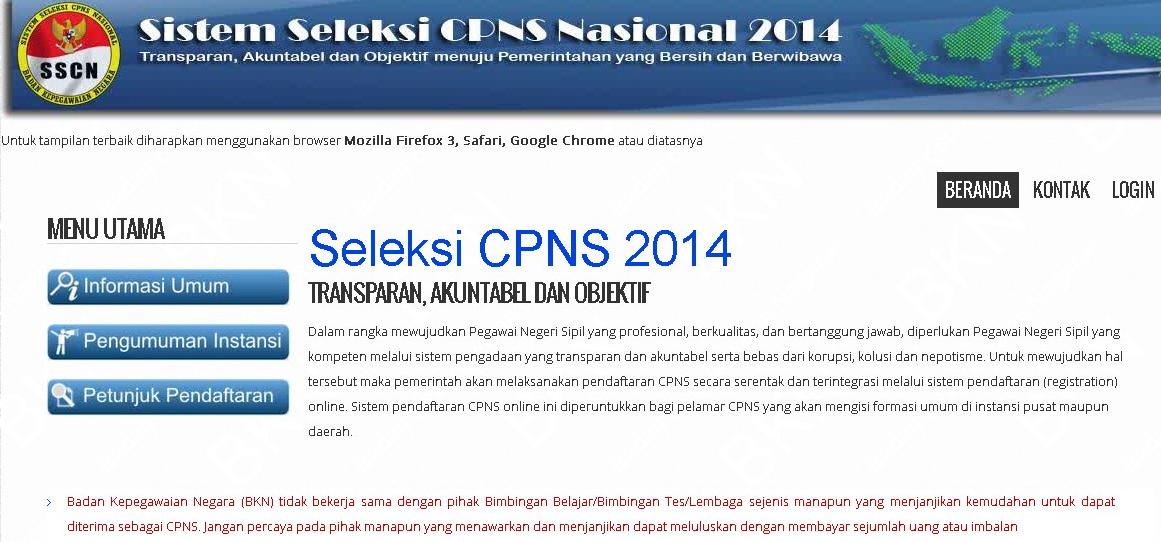 Pendaftaran CPNS online 2014 sscn.bkn.go.id