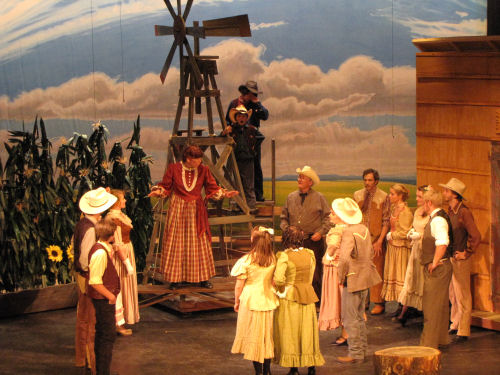 Aunt Eller and cast in Oklahoma!