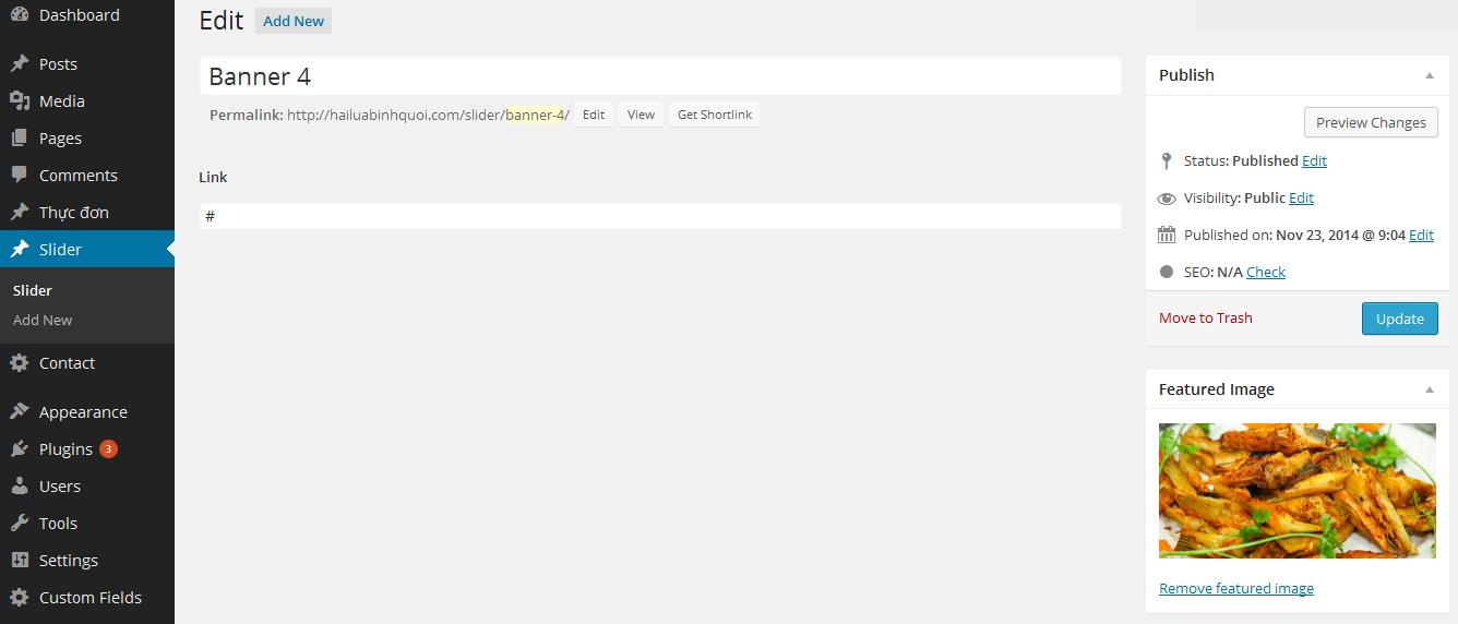 thiế kế website bằng wordpress, quản trị slider