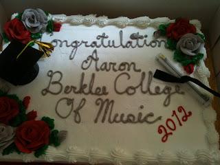 Aaron Nebbia's celebratory graduation cake.  Congratulations Aaron!  Berklee College of Music, 2012.