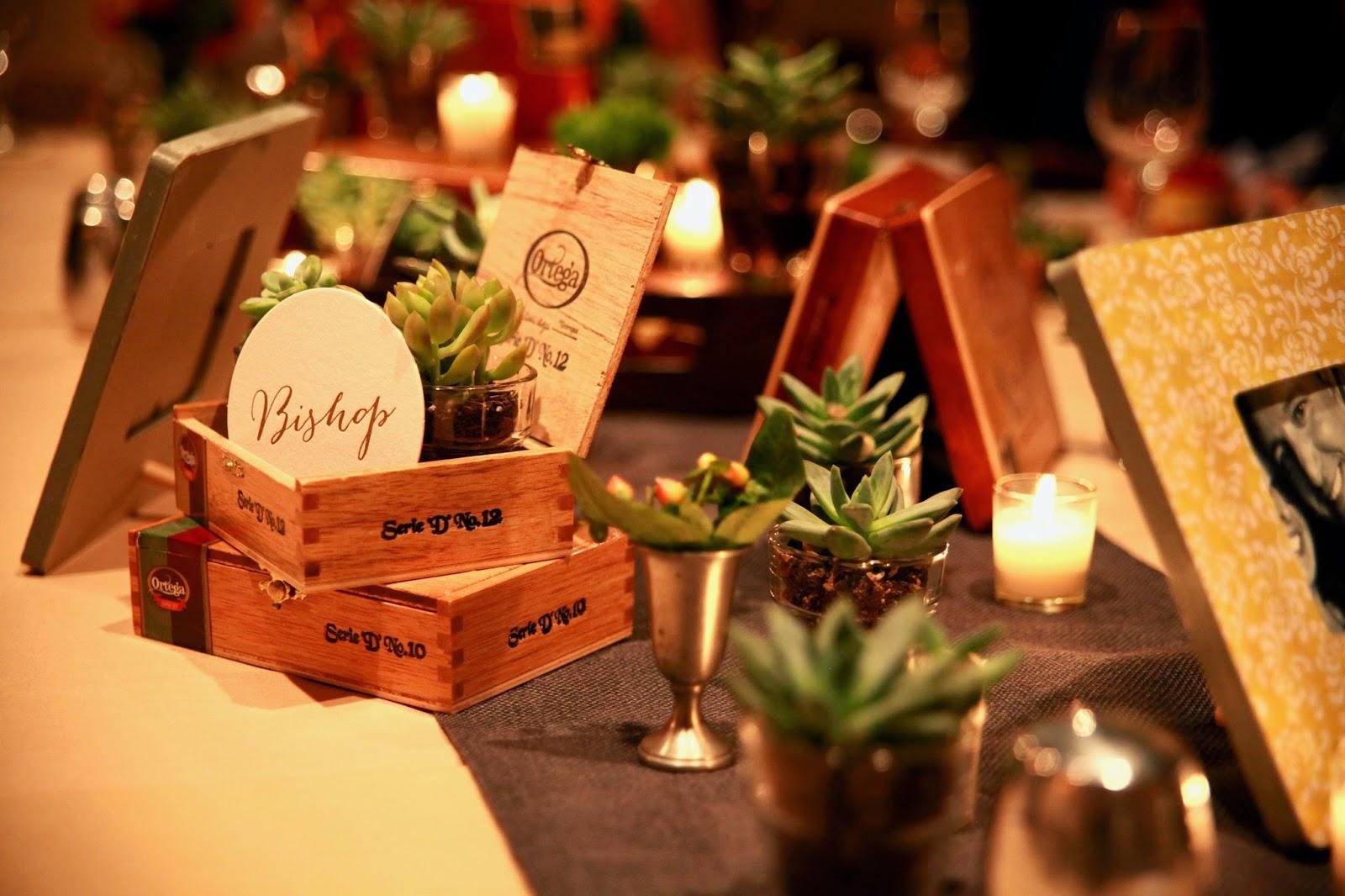 cigar box and succulent centerpieces