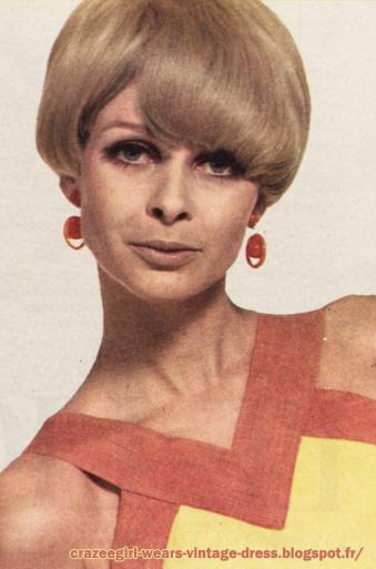 yellow orange dress 1966 60s 1960