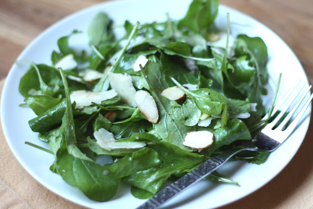 Arugula Salad with Almonds and Parmesan recipe by Barefeet In The Kitchen