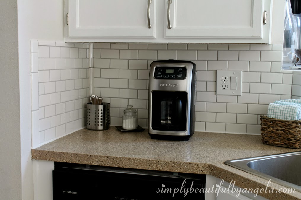 Kitchen Backsplash Uneven Wall simply beautifulangela: diy subway tile backsplash, the big