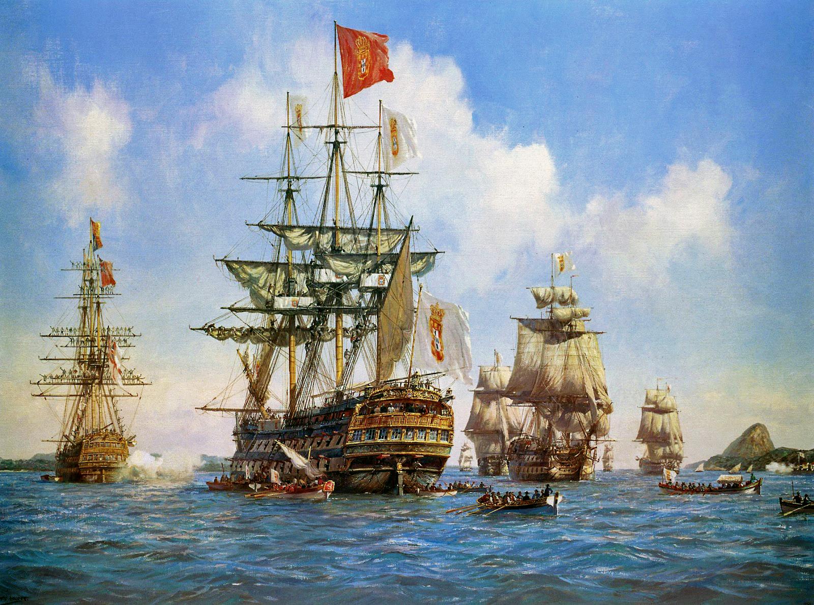 Arrivé de la famille royale portugaise à Rio de Janeiro le 7 de Mars de 1808. Peinture(1999) de Geoffrey Hunt.