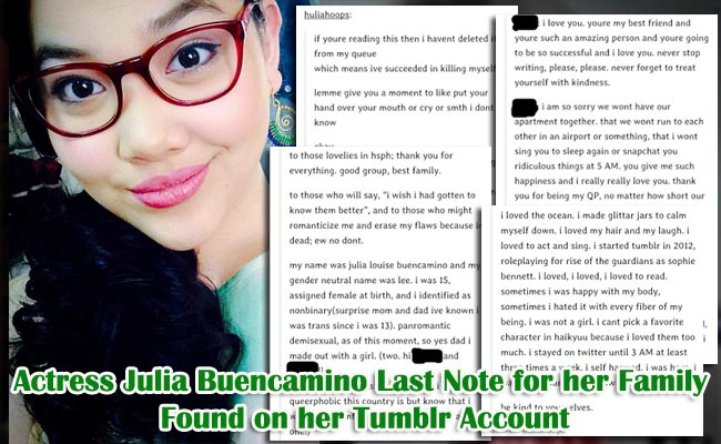 Actress Julia Buencamino Last Note for her Family Found on her Tumblr Account