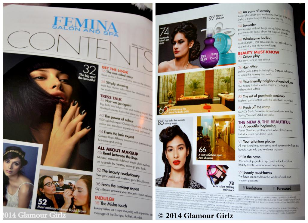 Contents of Femina Salon & Spa Jaunuary 2014.