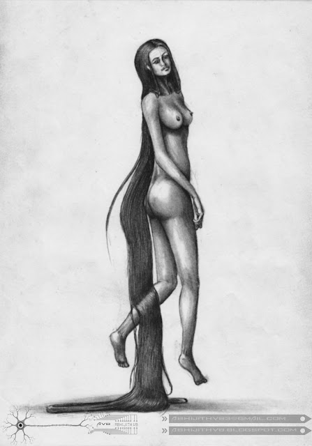 art artist pencil drawing draw paper traditional surreal woman lady girl nude naked love  death concept abhijithvb abhijith vb avb india kerala