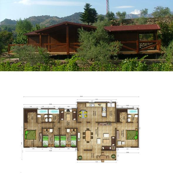 Casas de madera en espa a planos casas de madera 133 m2 - Casas prefabricadas de madera espana ...