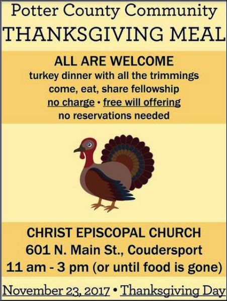 11-23 Thanksgiving Meal, Christ Episcopal Church, Coudersport