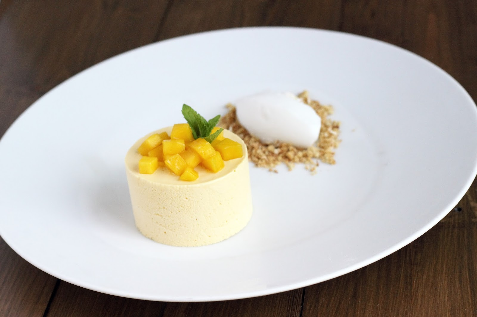Mango parfait with coconut sorbet
