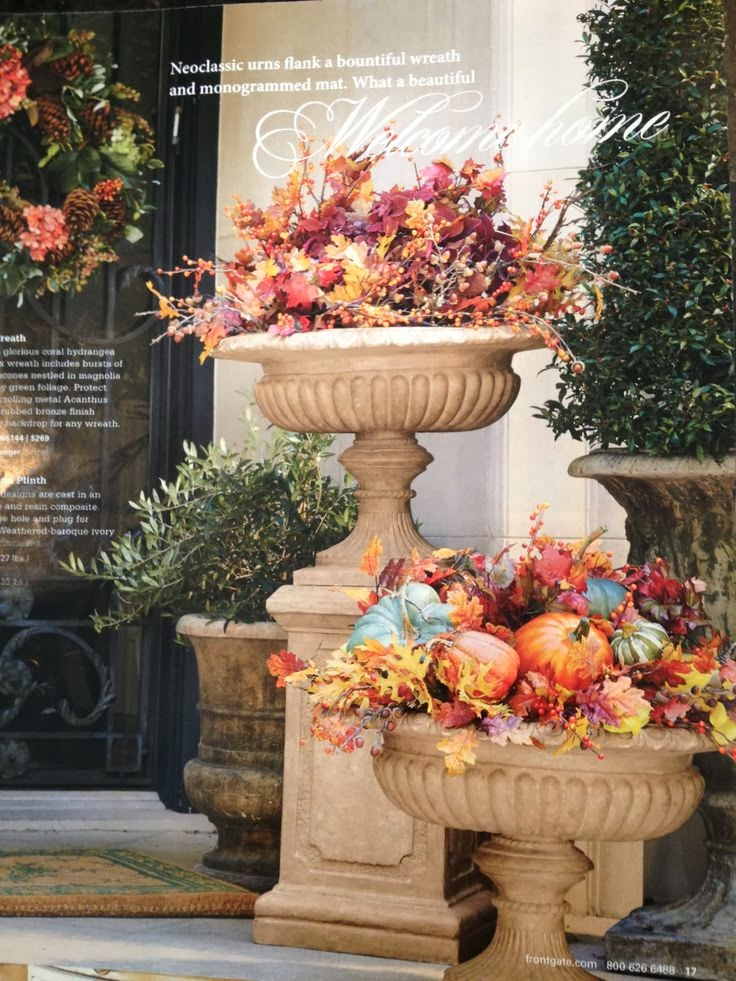 Focal point styling decorating with urns for autumn thanksgiving - Thanksgiving decorations on sale ...