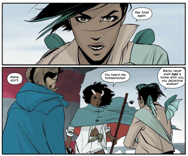 Marko faces ex fiance Gwendolyn in Brian K Vaughan's Saga 18