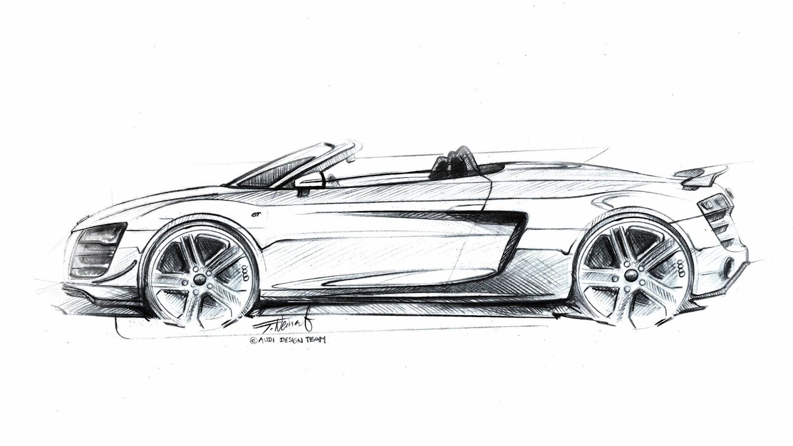 Audi r8 gt spyder 2008 sketsa mobil for Mobil design