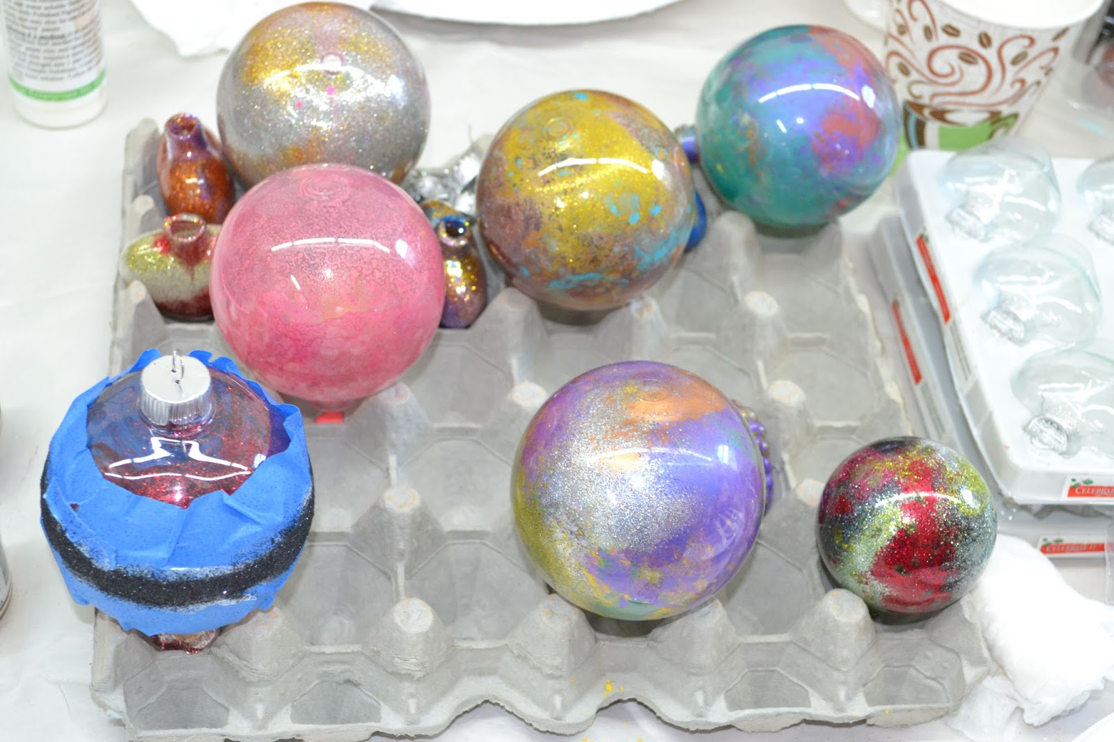 Ornaments And Swirl It Around And Then Add Glitter, Mica And Various  Materials  She Even Showed Us How To Add Floor Wax  Yes Floor Wax To The  Ones