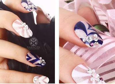Navy Nail Art, Nail Art Pink and Navy, Stone Nail Art