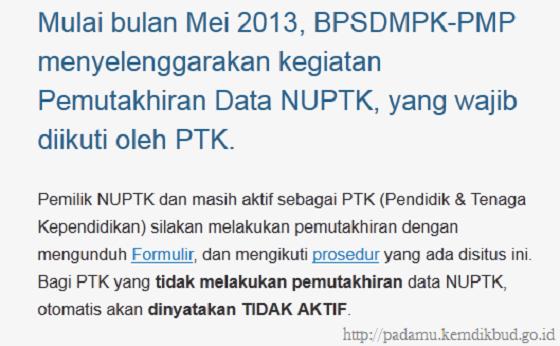 Pemutakhiran Data NUPTK 2013, Wajib Diikuti PTK