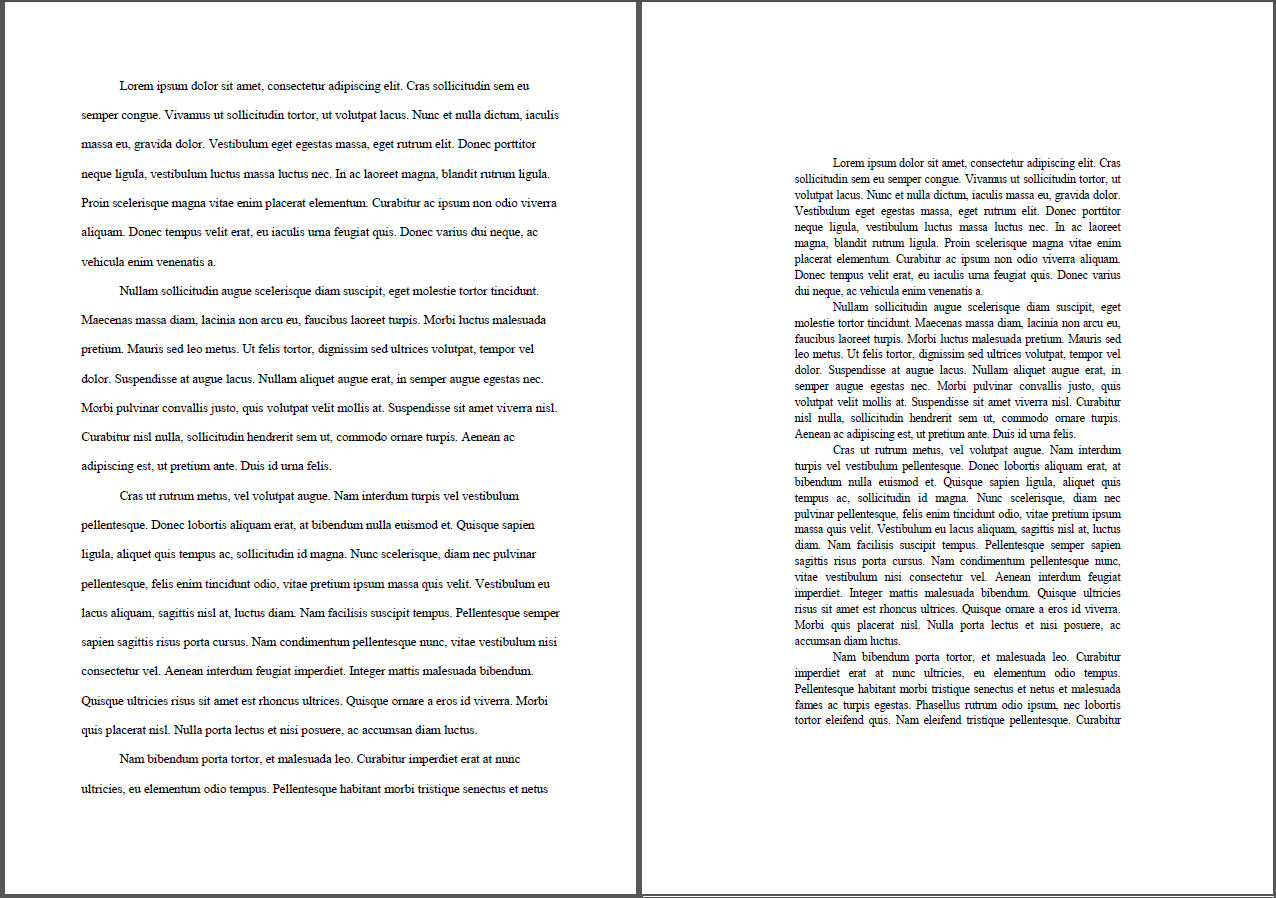 ... margins, double spaced; (right) document B, wider margins, better