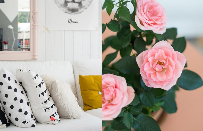 Vem ver uma sala linda, toda branquinha com detalhes em rosa queimado <3