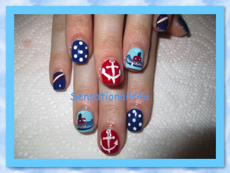 Nails of the week nautical nail art design nautical nail art design prinsesfo Gallery