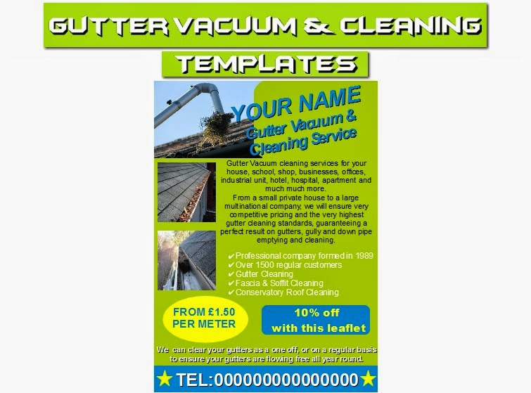 Business Templates Forms Gutter Vacuum Cleaning Leaflets Flyer Business Cards Business Start Up Pack