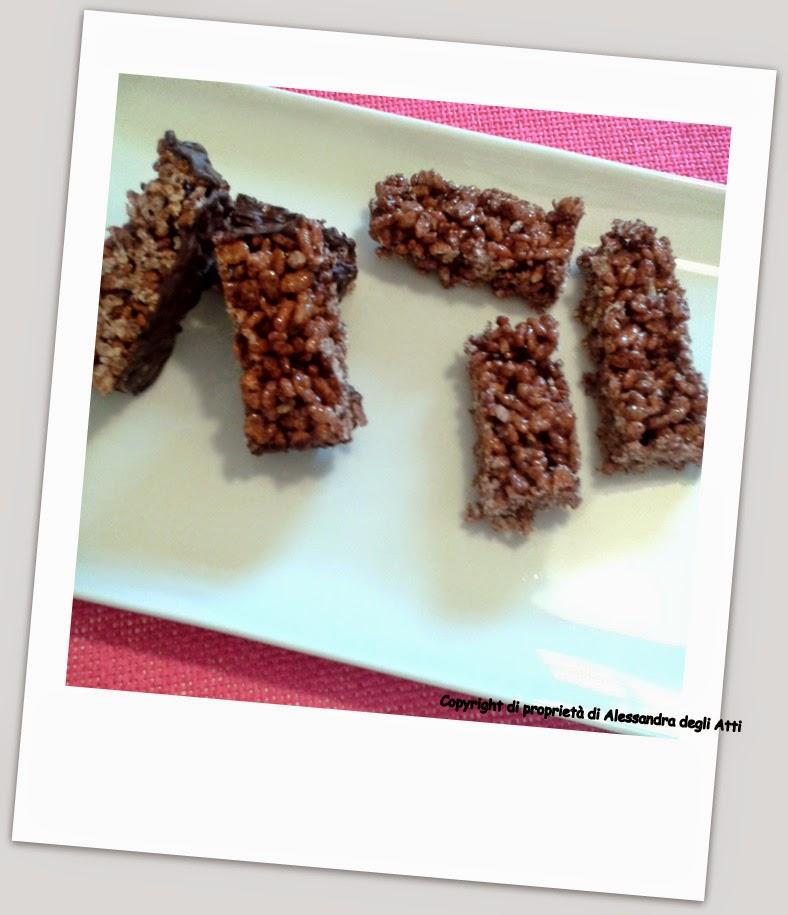 ricetta di barrette di riso soffiato al cioccolato