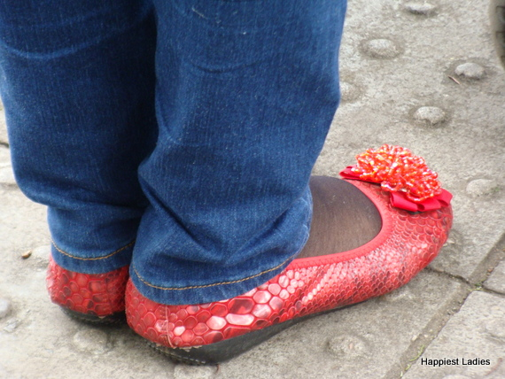 snake skin red flat shoes
