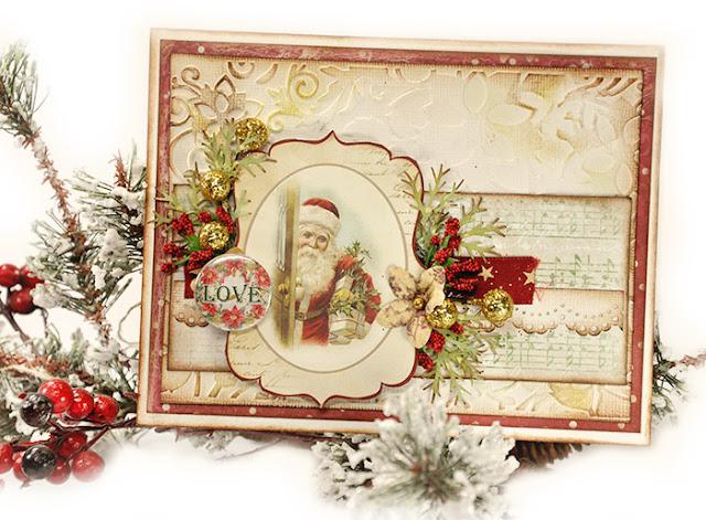 Scrap Escape LemonCraft Christmas Card With Vintage Santa